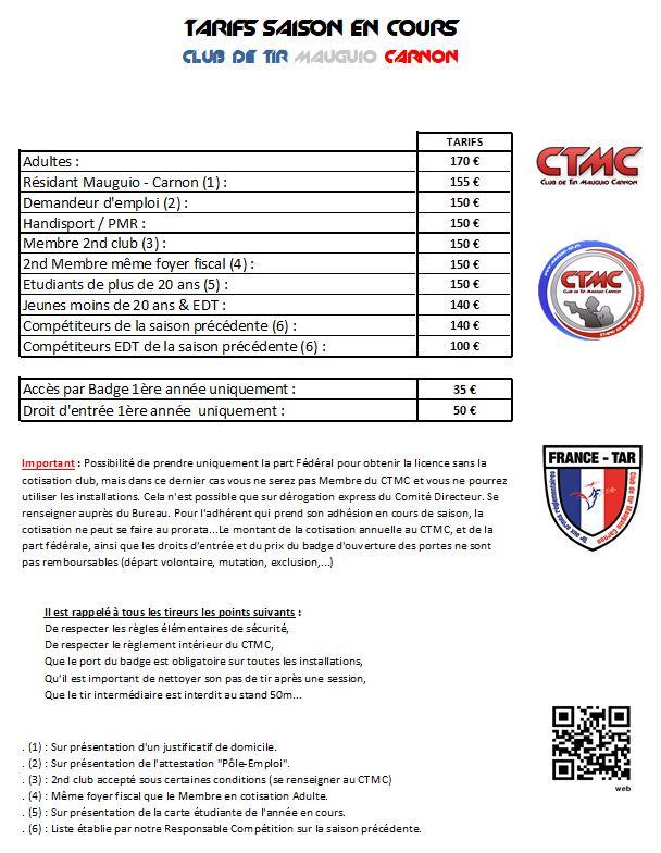 Tarifs Adhesions Club De Tir Mauguio Carnon